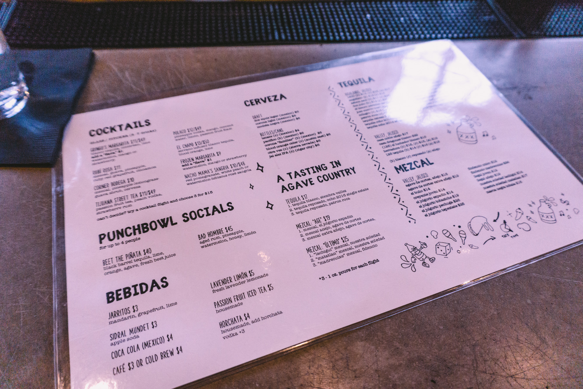 Menu design and layout at Gringo's Tacos in Jersey City